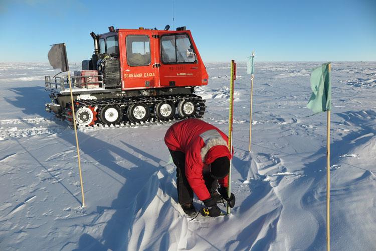 Taking snow depth measurements