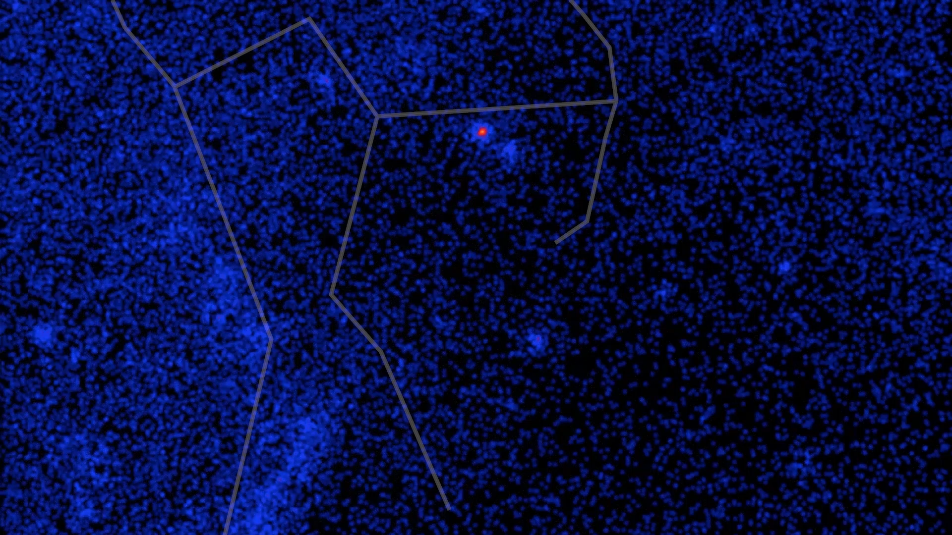 Constellation Orion, visible light to gamma rays - with lines