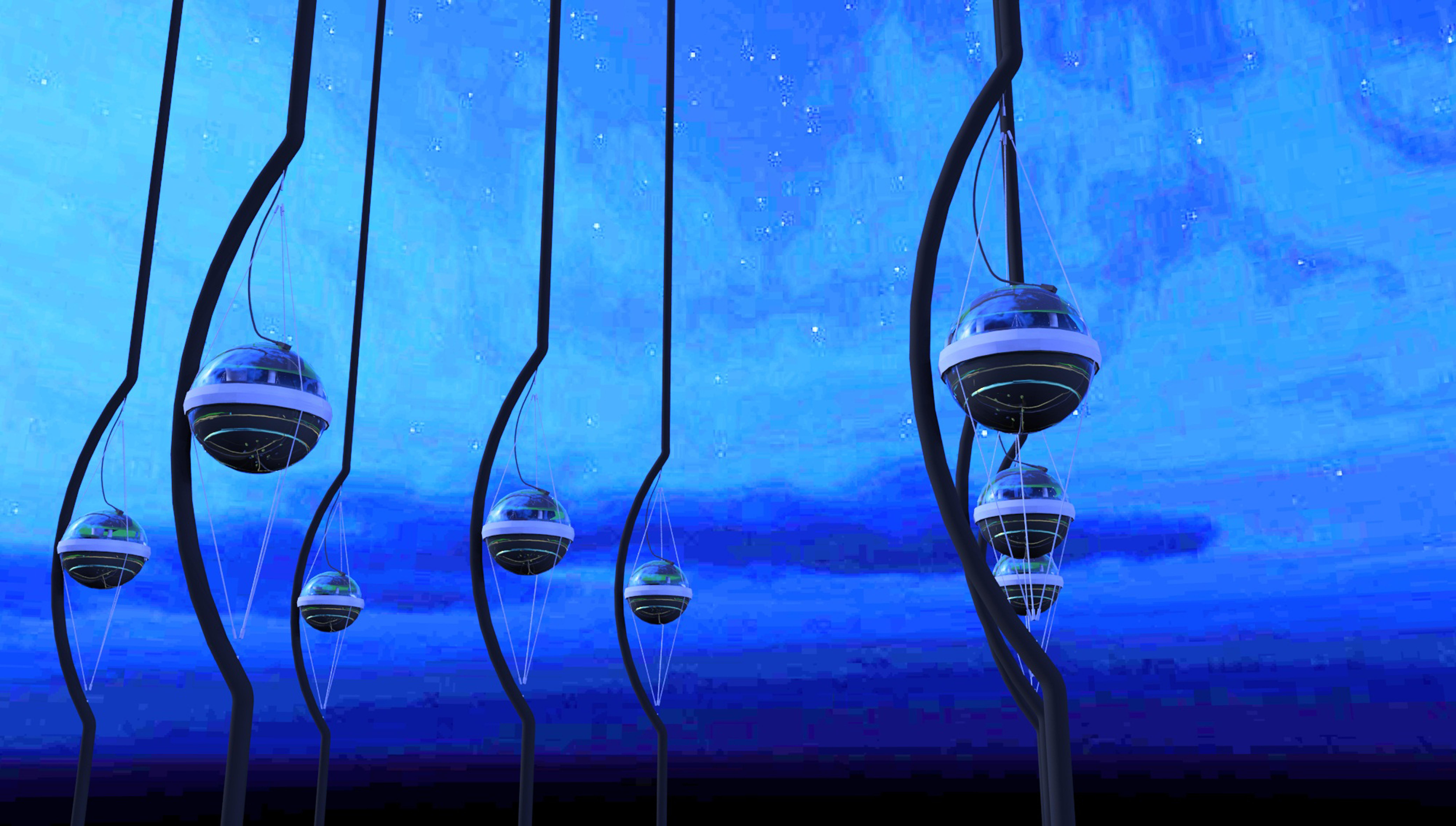 Artistic rendering of IceCube DOMs