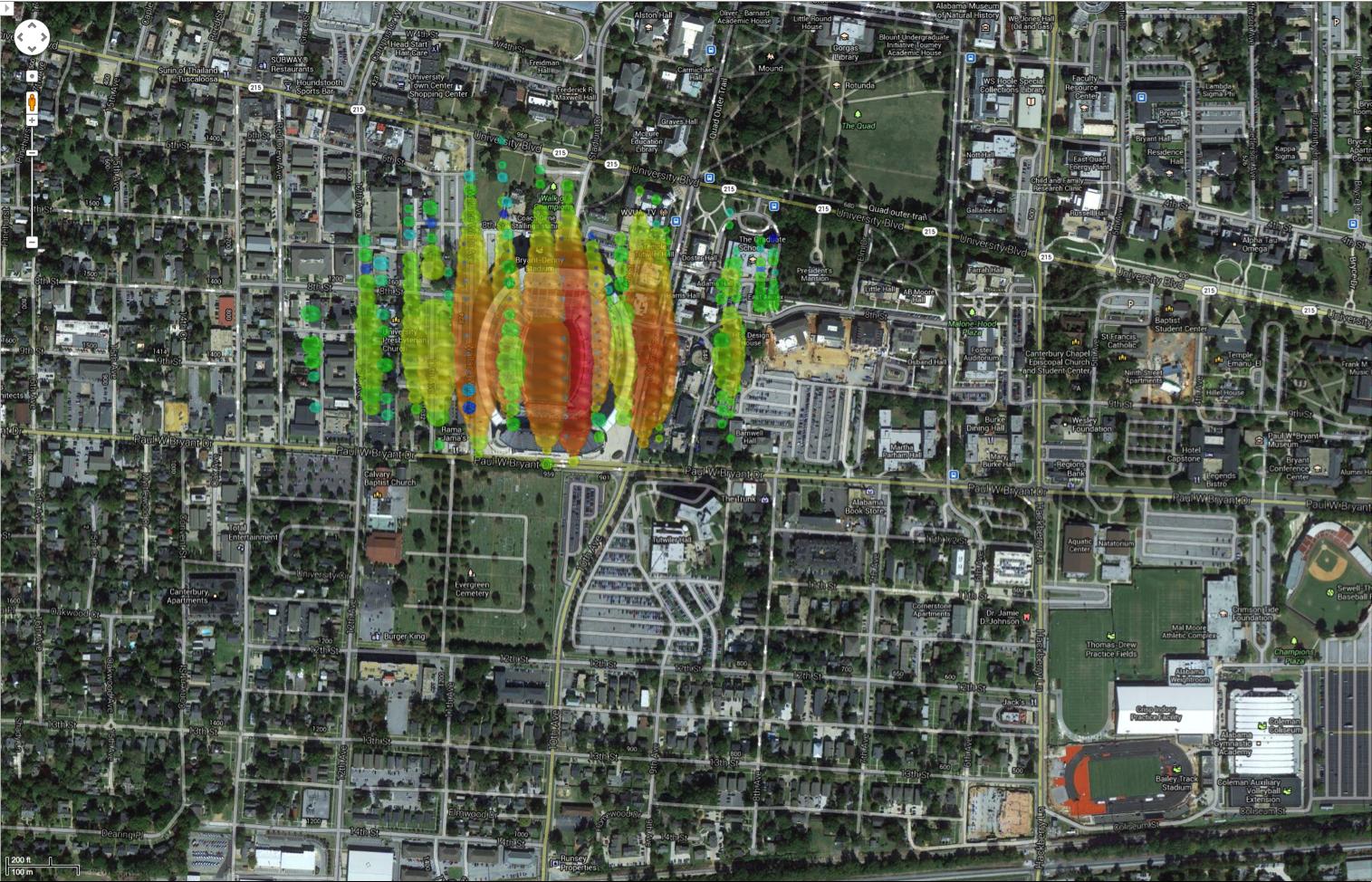 A high-energy neutrino over Tuscaloosa, Alabama