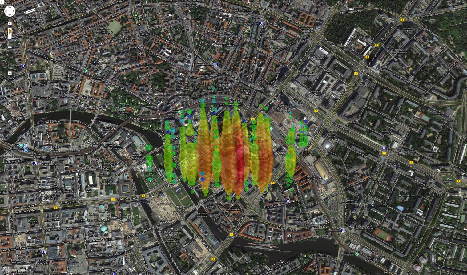 A high-energy neutrino over Berlin, Germany