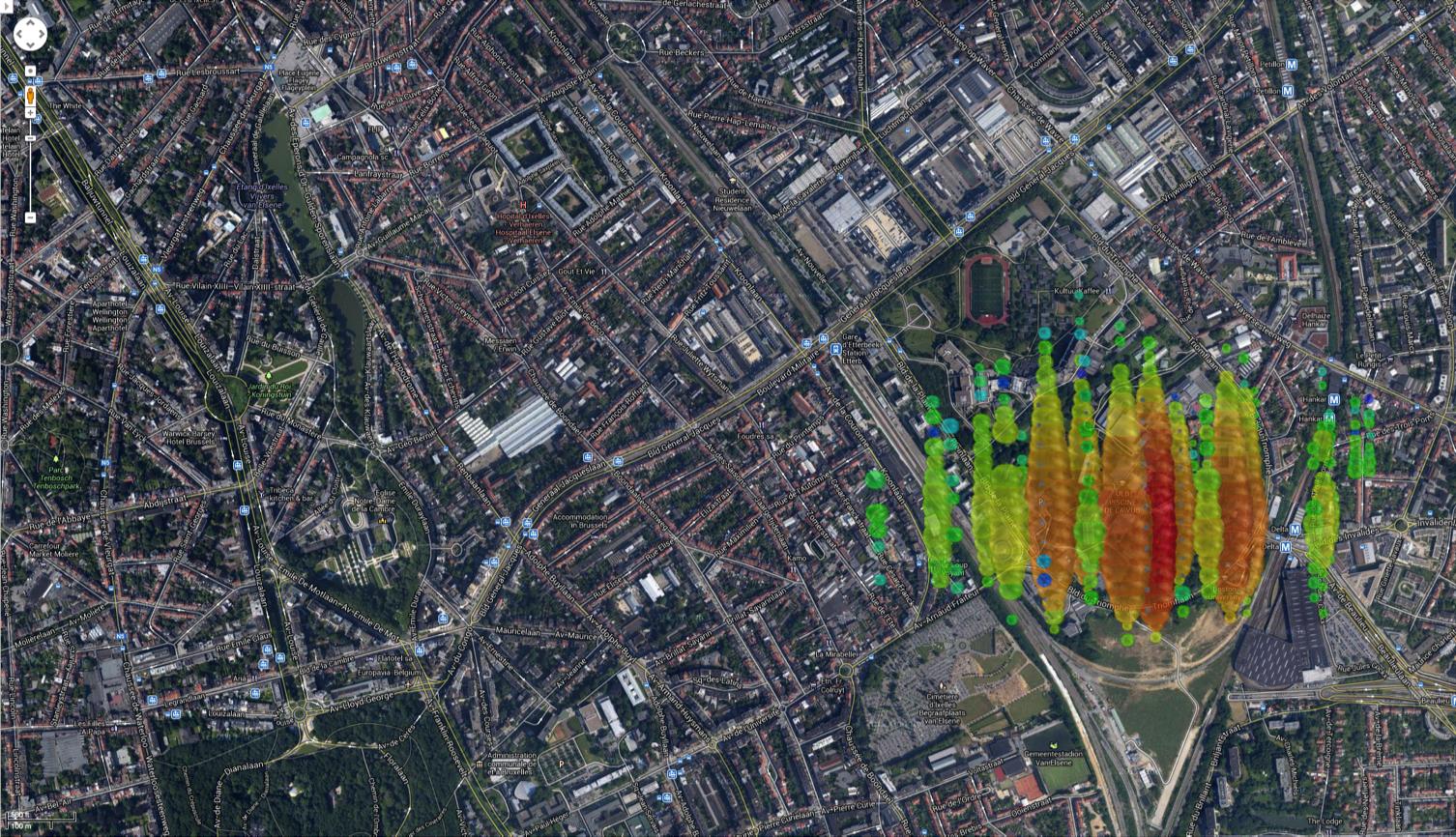 A high-energy neutrino over Brussels, Belgium