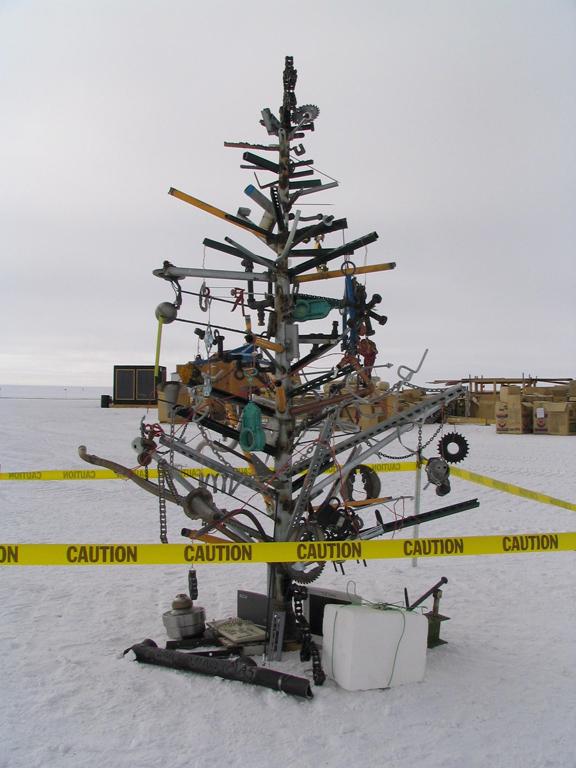 Folk-art holiday tree at the South Pole