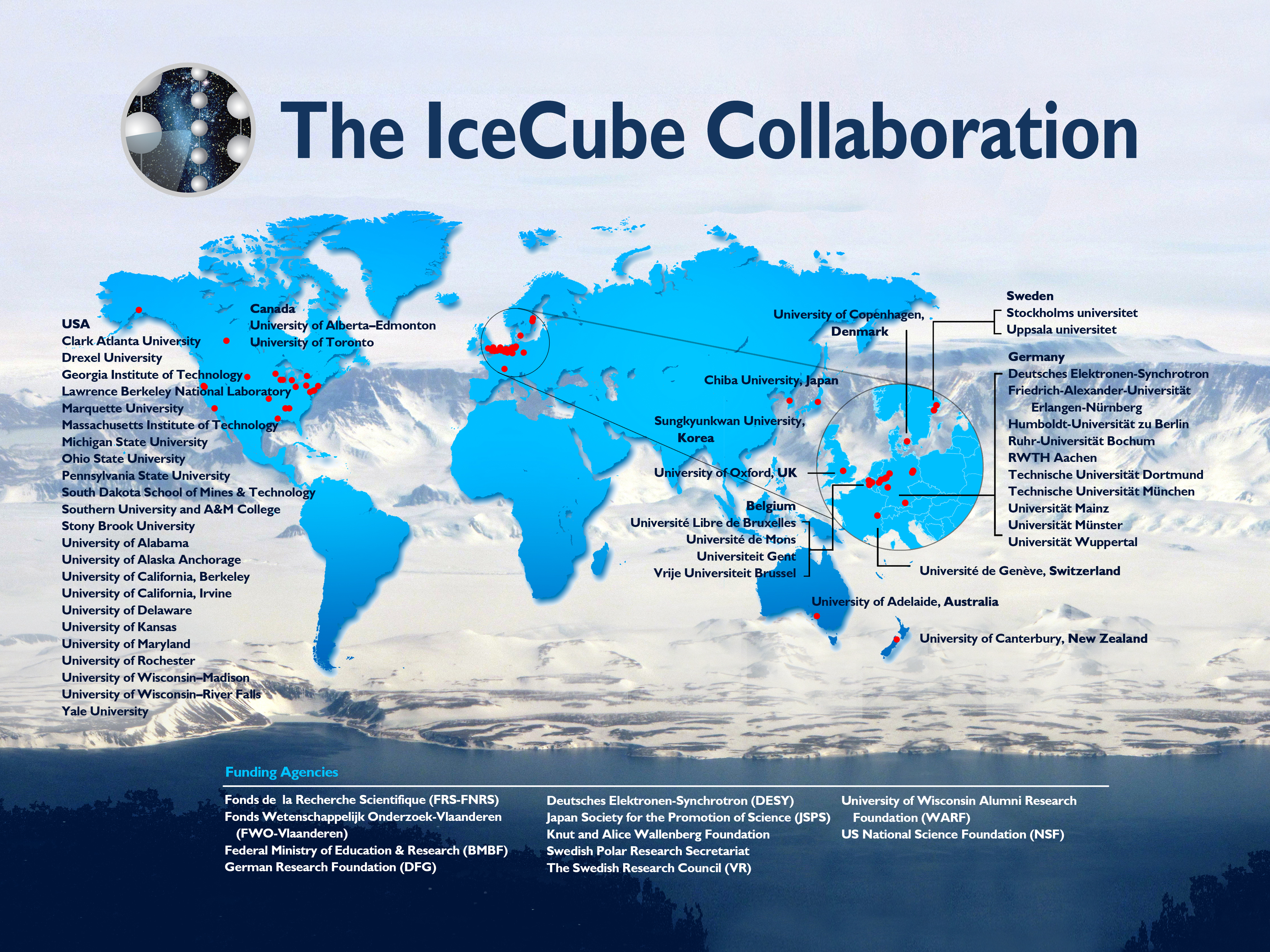 Map of IceCube Collaboration, Spring 2016