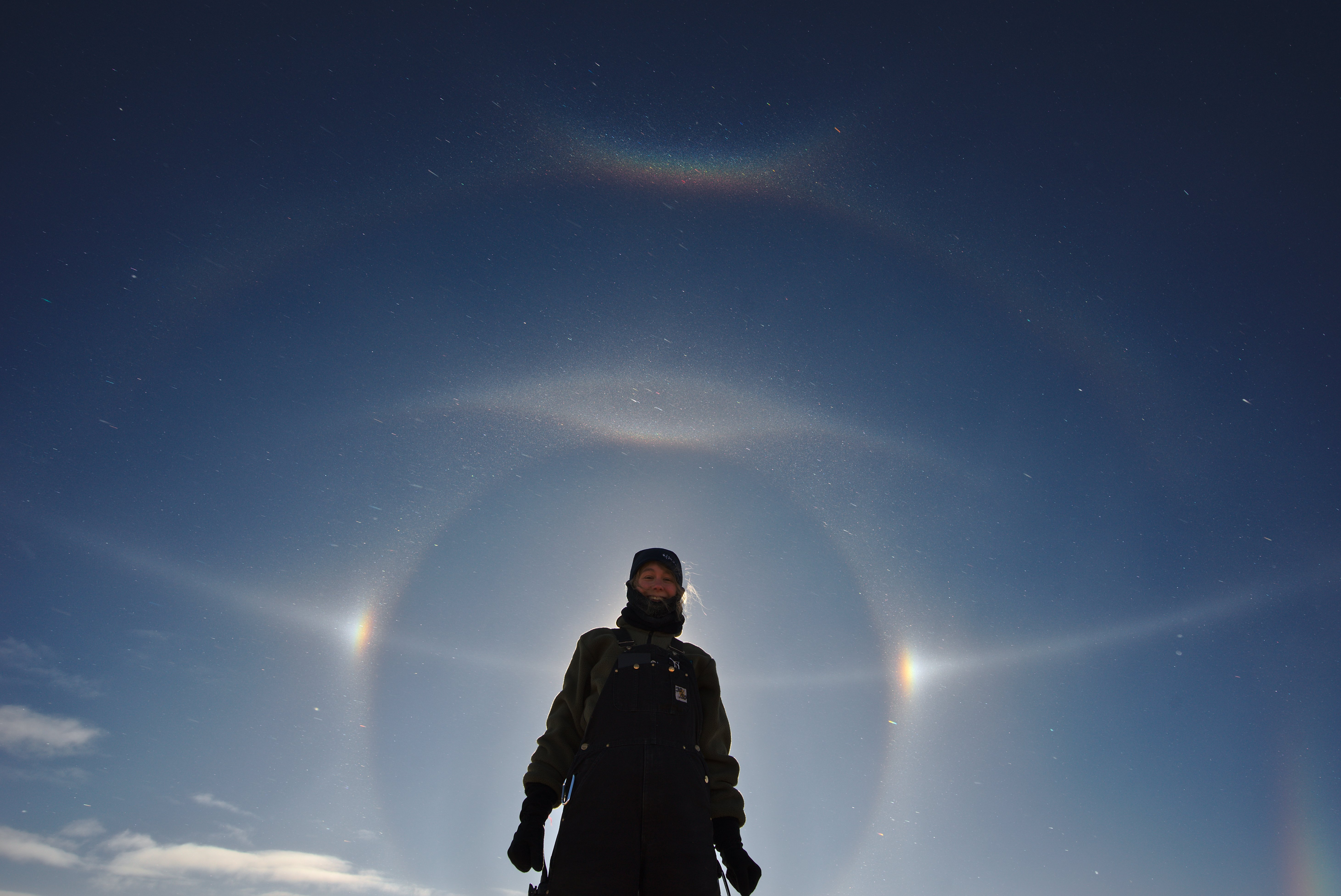 Winterover surrounded by a sun dog